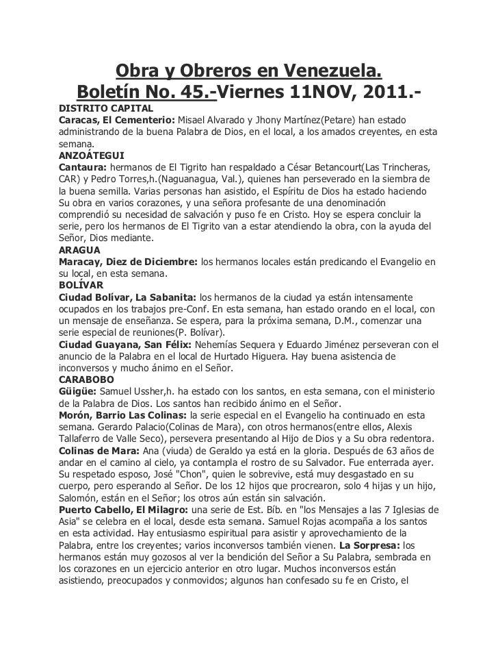 Obra y Obreros en Venezuela.    Boletín No. 45.-Viernes 11NOV, 2011.-DISTRITO CAPITALCaracas, El Cementerio: Misael Alvara...
