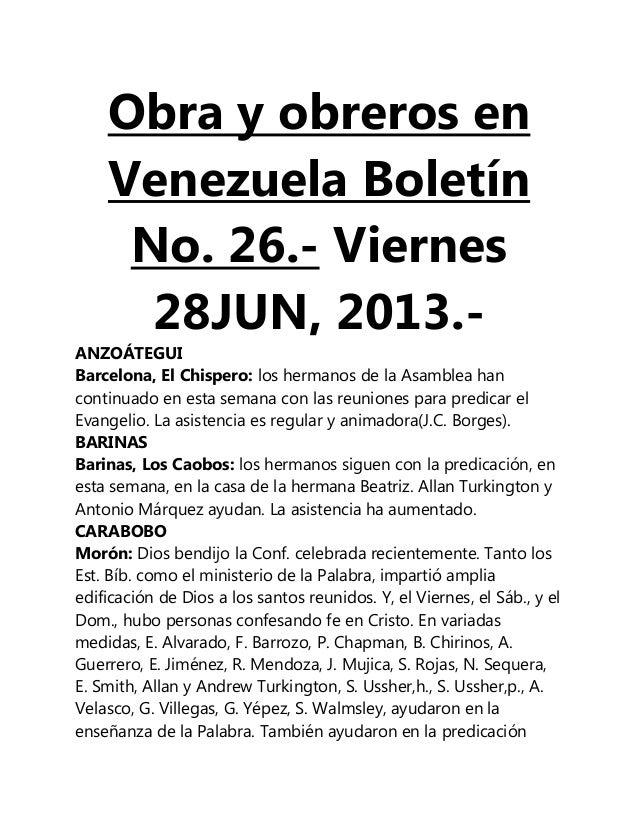 Obra y obreros en Venezuela Boletín No. 26.- Viernes 28JUN, 2013.- ANZOÁTEGUI Barcelona, El Chispero: los hermanos de la A...