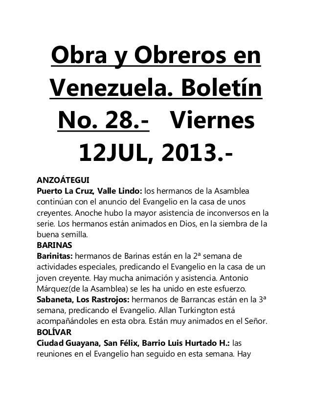 Obra y Obreros en Venezuela. Boletín No. 28.- Viernes 12JUL, 2013.- ANZOÁTEGUI Puerto La Cruz, Valle Lindo: los hermanos d...