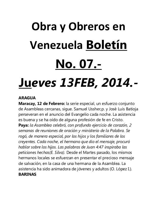 Obra y Obreros en Venezuela Boletín No. 07.Jueves 13FEB, 2014.ARAGUA Maracay, 12 de Febrero: la serie especial, un esfuerz...