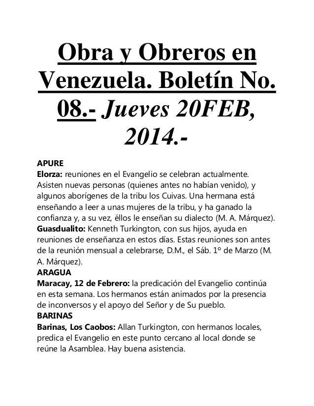 Obra y Obreros en Venezuela. Boletín No. 08.- Jueves 20FEB, 2014.APURE Elorza: reuniones en el Evangelio se celebran actua...