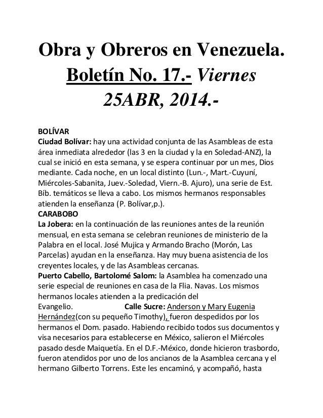 Obra y Obreros en Venezuela. Boletín No. 17.- Viernes 25ABR, 2014.- BOLÍVAR Ciudad Bolívar: hay una actividad conjunta de ...