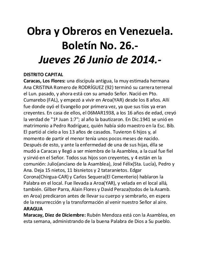 Obra y Obreros en Venezuela. Boletín No. 26.- Jueves 26 Junio de 2014.- DISTRITO CAPITAL Caracas, Los Flores: una discípul...