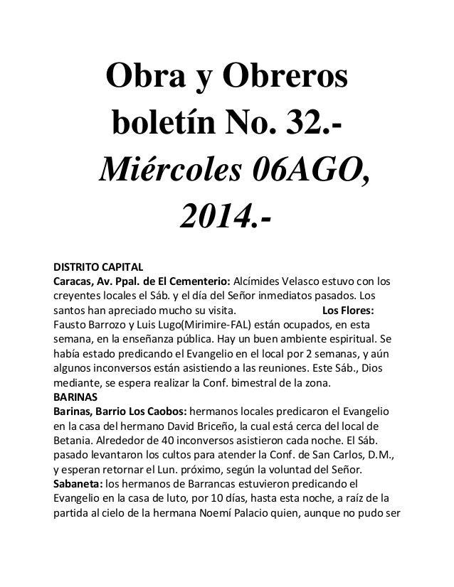 Obra y Obreros boletín No. 32.- Miércoles 06AGO, 2014.- DISTRITO CAPITAL Caracas, Av. Ppal. de El Cementerio: Alcímides Ve...