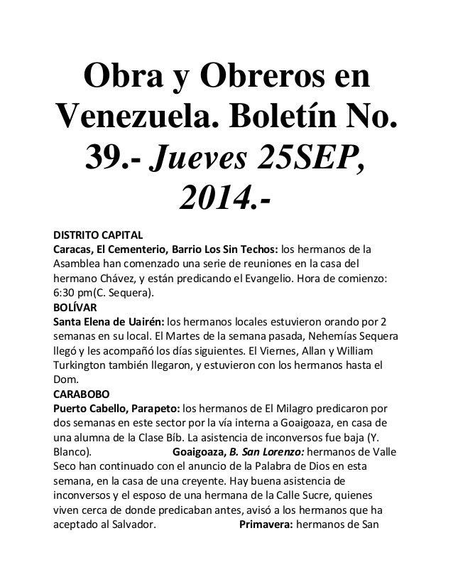 Obra y Obreros en Venezuela. Boletín No. 39.- Jueves 25SEP, 2014.-  DISTRITO CAPITAL  Caracas, El Cementerio, Barrio Los S...