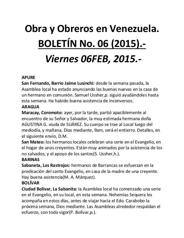 Obra y Obreros en Venezuela. BOLETÍN No. 06 (2015).- Viernes 06FEB, 2015.- APURE San Fernando, Barrio Jaime Lusinchi: desd...