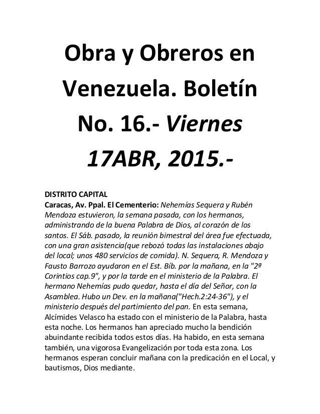 Obra y Obreros en Venezuela. Boletín No. 16.- Viernes 17ABR, 2015.- DISTRITO CAPITAL Caracas, Av. Ppal. El Cementerio: Neh...