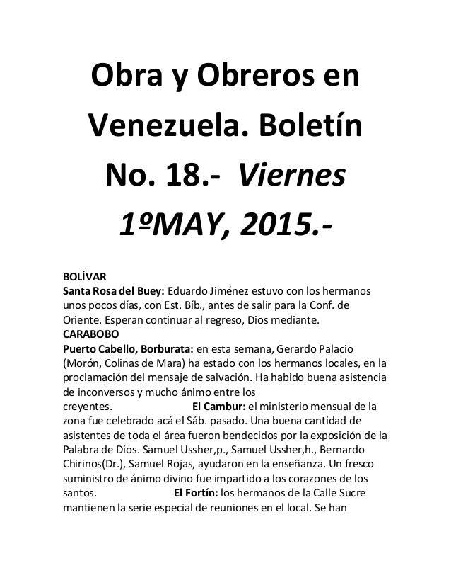 Obra y Obreros en Venezuela. Boletín No. 18.- Viernes 1ºMAY, 2015.- BOLÍVAR Santa Rosa del Buey: Eduardo Jiménez estuvo co...