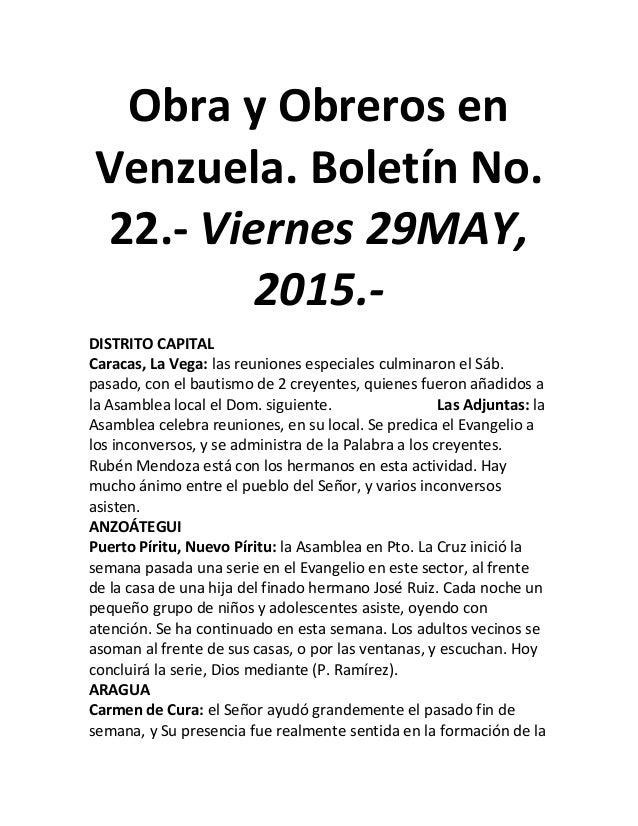 Obra y Obreros en Venzuela. Boletín No. 22.- Viernes 29MAY, 2015.- DISTRITO CAPITAL Caracas, La Vega: las reuniones especi...