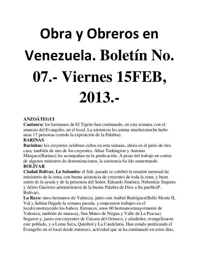 Obra y Obreros enVenezuela. Boletín No. 07.- Viernes 15FEB,        2013.-ANZOÁTEGUICantaura: los hermanos de El Tigrito ha...