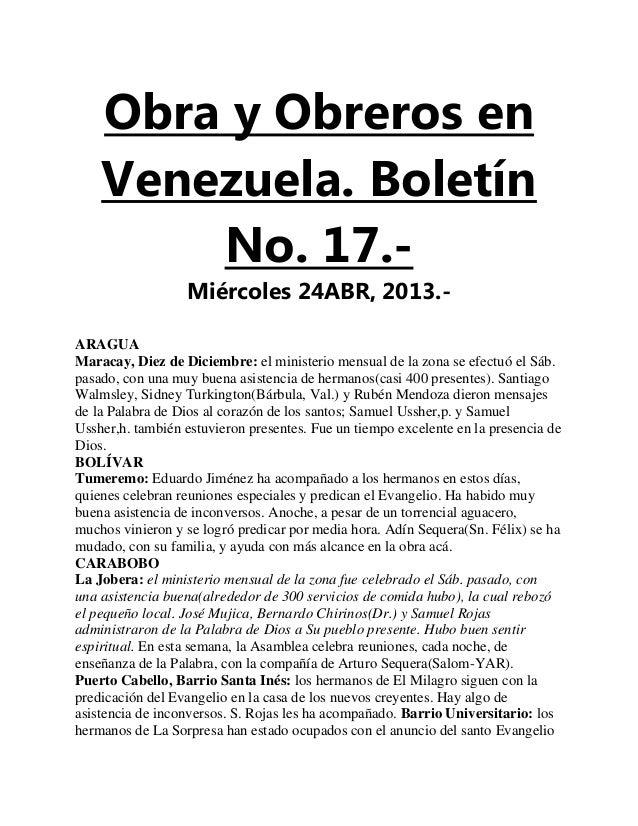 Obra y Obreros enVenezuela. BoletínNo. 17.-Miércoles 24ABR, 2013.-ARAGUAMaracay, Diez de Diciembre: el ministerio mensual ...