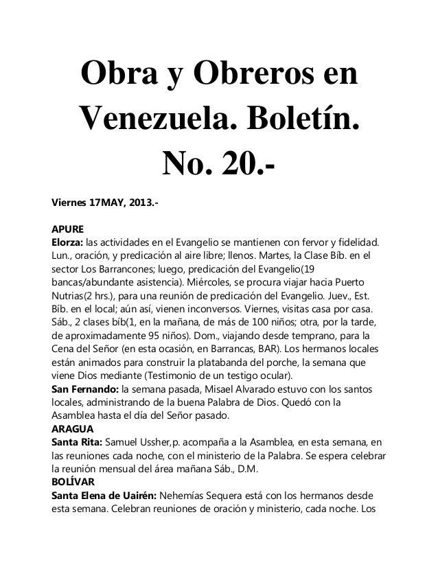 Obra y Obreros enVenezuela. Boletín.No. 20.-Viernes 17MAY, 2013.-APUREElorza: las actividades en el Evangelio se mantienen...