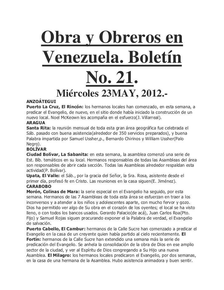 Obra y Obreros en       Venezuela. Boletín            No. 21.               Miércoles 23MAY, 2012.-ANZOÁTEGUIPuerto La Cru...
