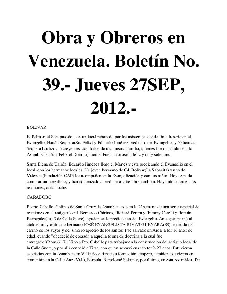 Obra y Obreros enVenezuela. Boletín No. 39.- Jueves 27SEP,        2012.-BOLÍVAREl Palmar: el Sáb. pasado, con un local reb...