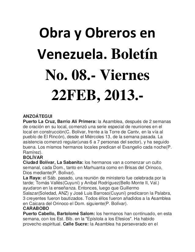 Obra y Obreros en       Venezuela. Boletín        No. 08.- Viernes         22FEB, 2013.-ANZOÁTEGUIPuerto La Cruz, Barrio A...