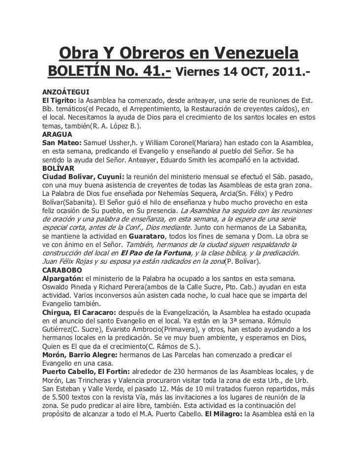 Obra Y Obreros en Venezuela BOLETÍN No. 41.- Viernes 14 OCT, 2011.-ANZOÁTEGUIEl Tigrito: la Asamblea ha comenzado, desde a...