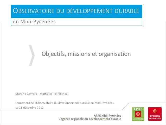 Présentation de l'Observatoire régional du Développement durable de Midi-Pyrénées