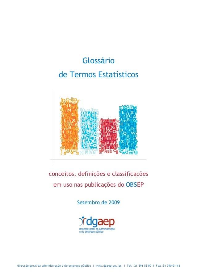 Glossário                            de Termos Estatísticos                     conceitos, definições e classificações    ...