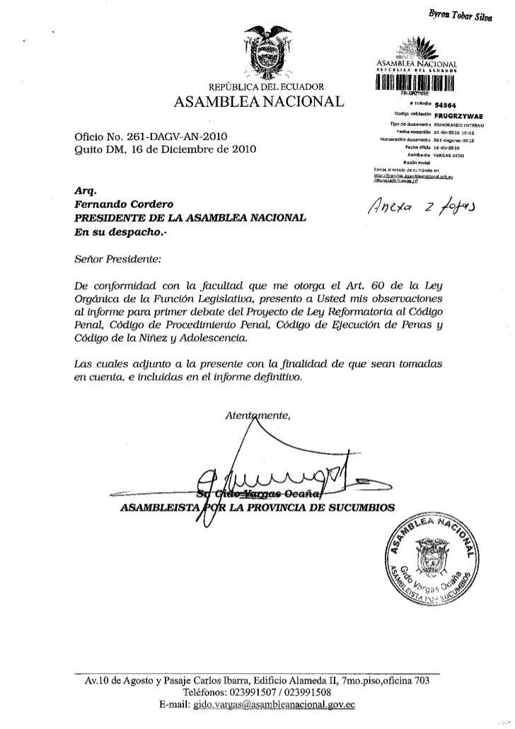 Observaciones al informe primer debate proyecto ley reformatoria codugo penal, codigo procedimiento penal, codigo ejecucio...