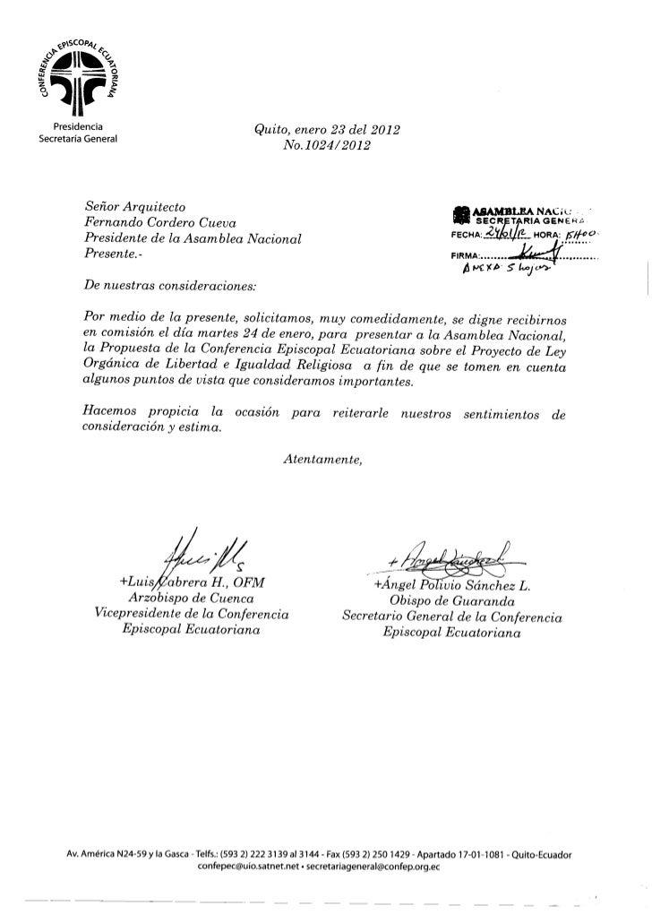 Para su conocimiento adjunto oficio No. 1024/2012 de la Conferencia Episcopal Ecuatoriana, mismo que contiene observaciones al proyecto de Ley Orgánica de Libertad e Igualdad Religiosa.