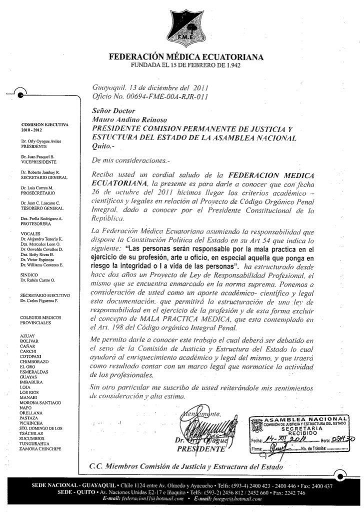Observaciones Federación Médica Ecuatoriana  al Código Penal
