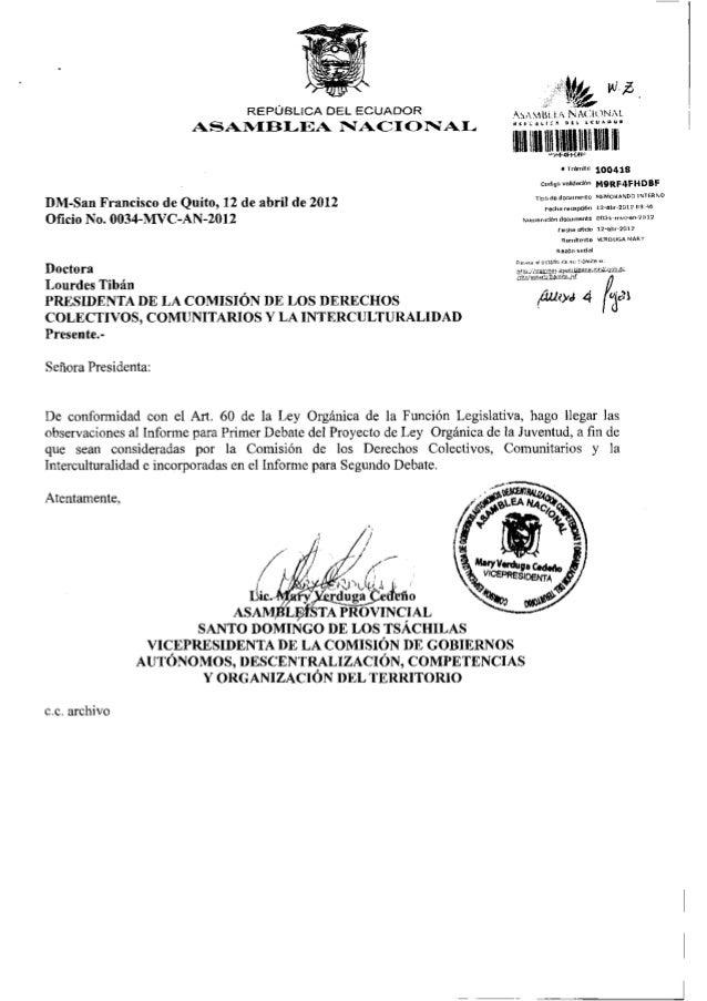 REPÚBLICA DEL ECUADOR                                                                               ASAMBUA NACIONAL      ...