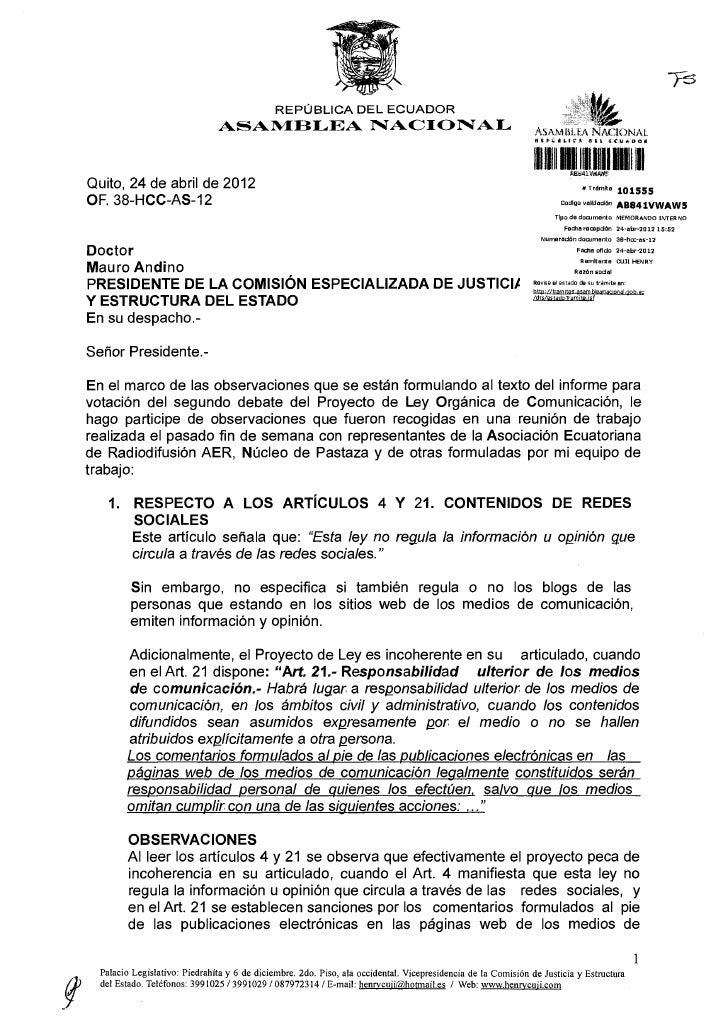 REPÚBLICA D E L E C U A D O R                                   ASAMBLEA                               NACIONAL           ...