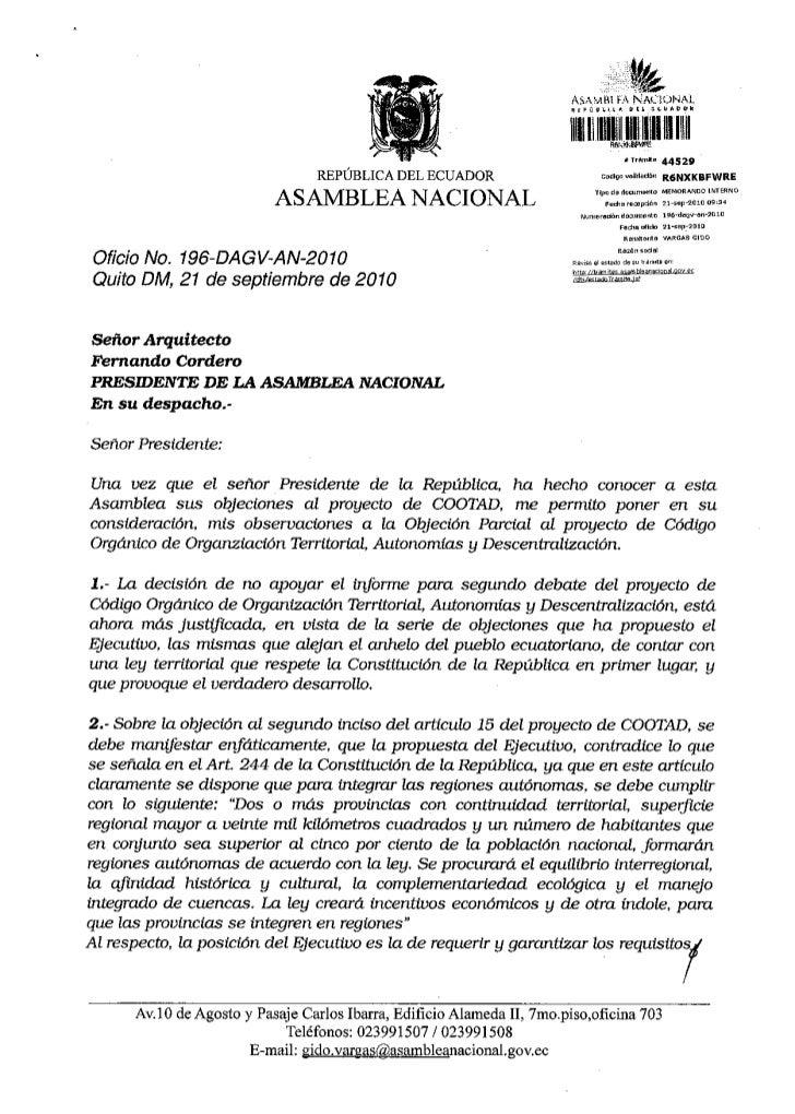 Observaciones veto presidencial proyecto del cootad
