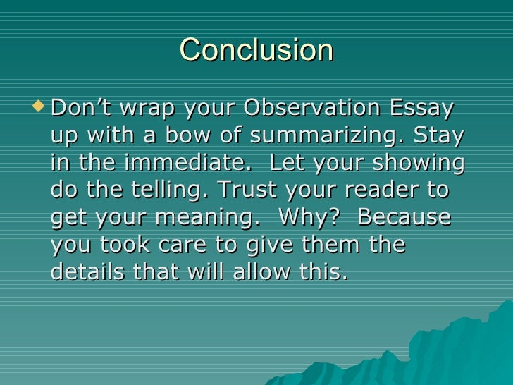 Free observation essay