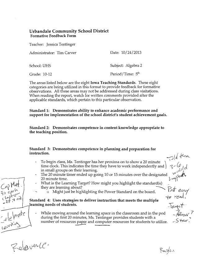 Formal Observation/Notes October 2013