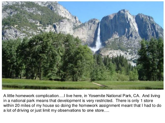 A little homework complication….I live here, in Yosemite National Park, CA. And livingin a national park means that develo...