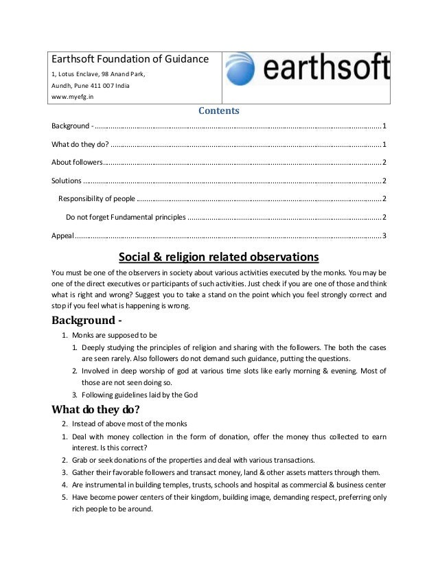 Earthsoft Foundation of Guidance 1, Lotus Enclave, 98 Anand Park, Aundh, Pune 411 007 India www.myefg.in Contents Backgrou...