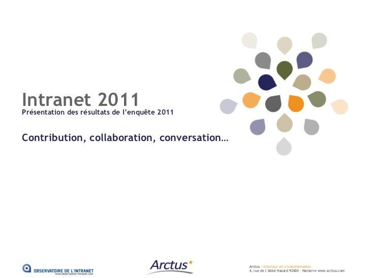 Intranet 2011Présentation des résultats de l'enquête 2011Contribution, collaboration, conversation…                       ...
