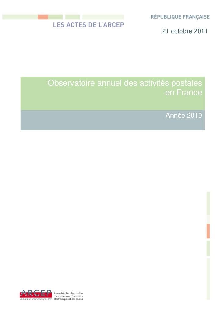 Observatoire annuel des activités postales en France   2010