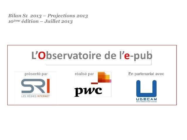 Obervatoire de l'e-pub - Projections 2013 - SRI