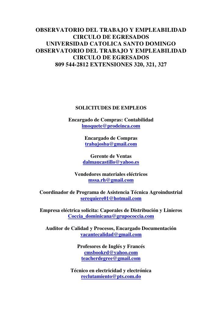 OBSERVATORIO DEL TRABAJO Y EMPLEABILIDAD            CIRCULO DE EGRESADOS    UNIVERSIDAD CATOLICA SANTO DOMINGO OBSERVATORI...