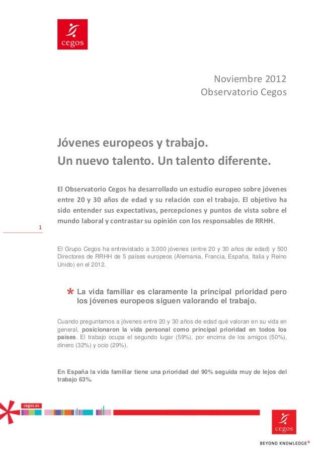 Noviembre 2012                                                       Observatorio Cegos    Jóvenes europeos y trabajo.    ...