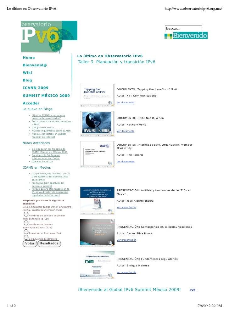 Lo último en Observatorio IPv6                                                                         http://www.observat...