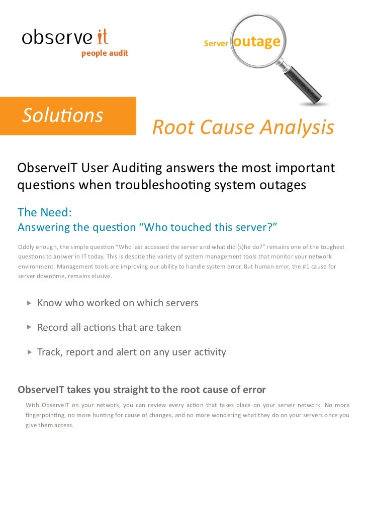 Server    outage                       people audit      Solutions                                                Root Cau...