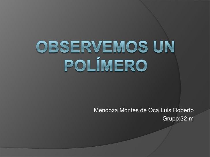 Observemos un polímero<br />Mendoza Montes de Oca Luis Roberto<br />Grupo:32-m<br />