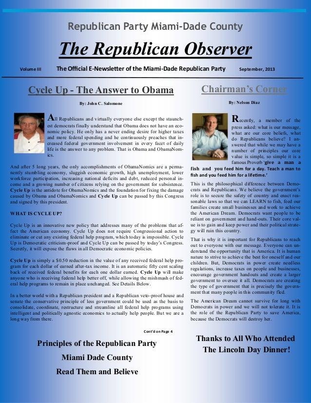 Republican Party Miami-Dade County The Republican Observer Volume III The Official E-Newsletter of the Miami-Dade Republic...