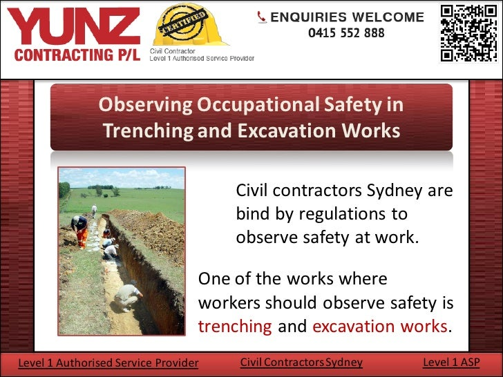 Observing occupational safety in trenching and excavation works