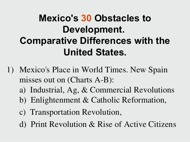 Mexico's 30 Obstacles to Development. Comparative Differences with the United States. 1) Mexico's Place in World Times. Ne...