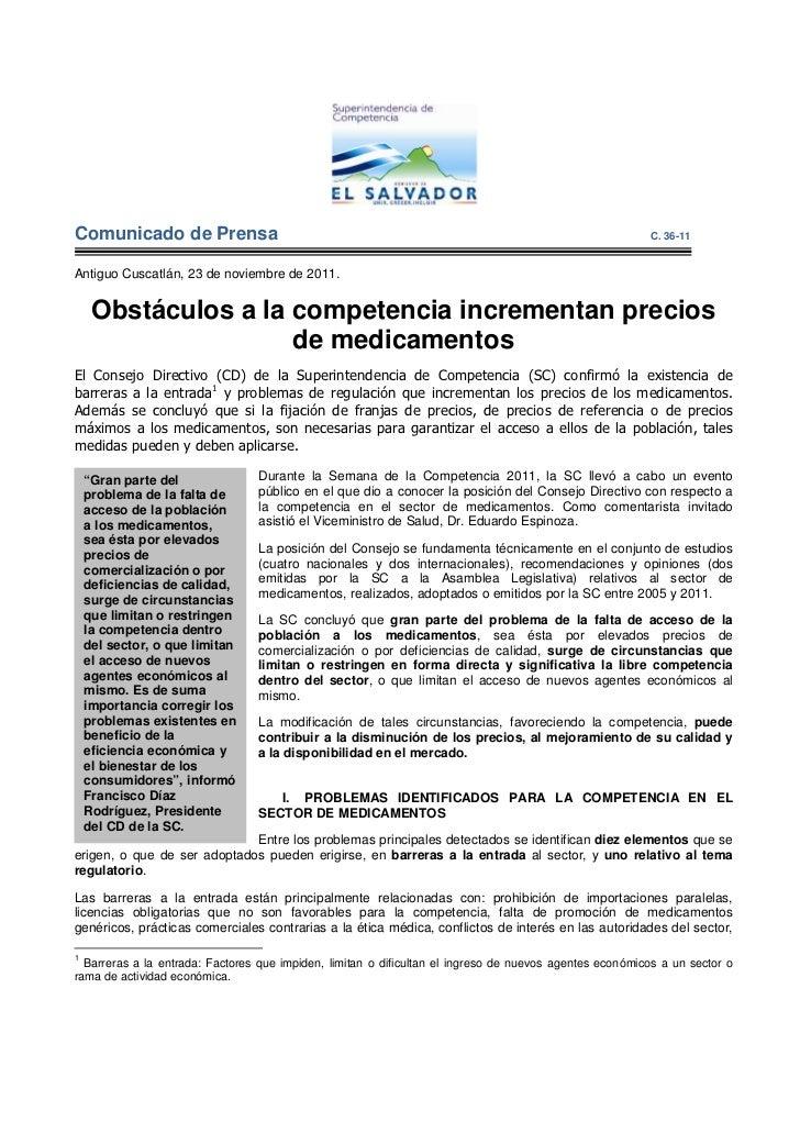 C.36-11 Obstáculos a la competencia incrementan precios de medicamentos