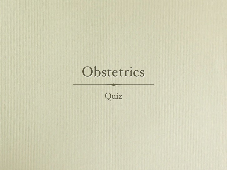 Obstetrics Quiz