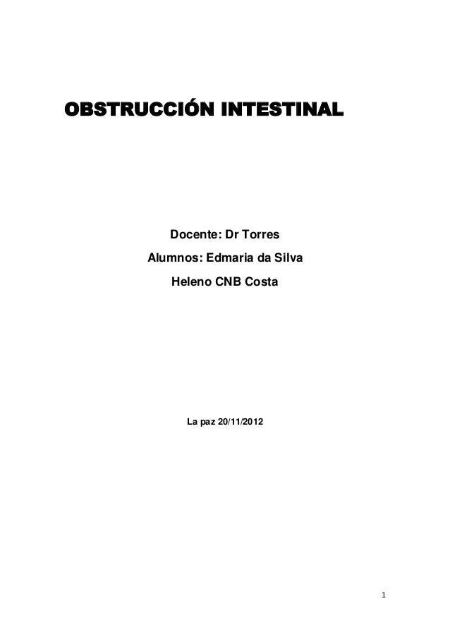 OBSTRUCCIÓN INTESTINAL         Docente: Dr Torres      Alumnos: Edmaria da Silva         Heleno CNB Costa            La pa...