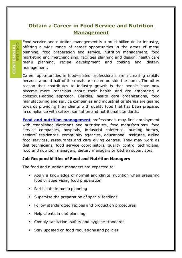 Obtain a Career in Food Service and Nutrition Management Food service and nutrition management is a multi-billion dollar i...