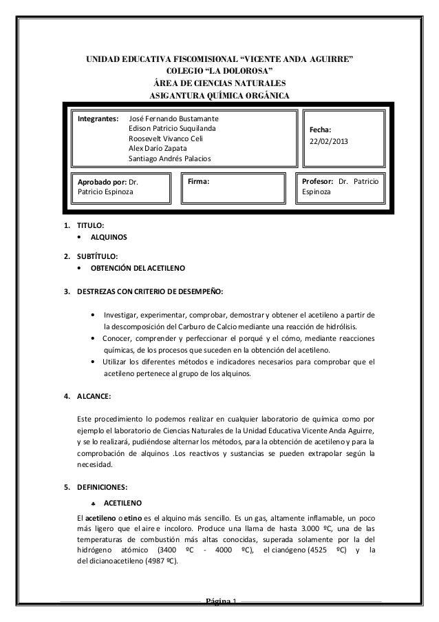 """UNIDAD EDUCATIVA FISCOMISIONAL """"VICENTE ANDA AGUIRRE""""  COLEGIO """"LA DOLOROSA""""  ÁREA DE CIENCIAS NATURALES  ASIGANTURA QUÍMI..."""