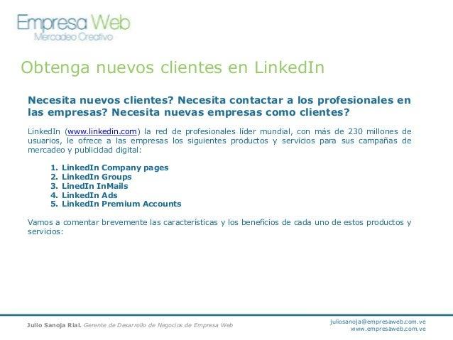 Obtenga nuevos clientes en LinkedIn. Campañas de mercadeo y publicidad digital en LinkedIn