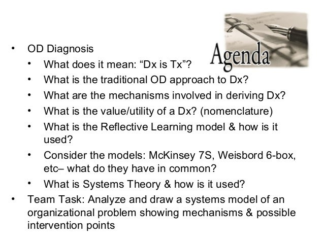 "• OD Diagnosis • What does it mean: ""Dx is Tx""? • What is the traditional OD approach to Dx? • What are the mechanisms inv..."